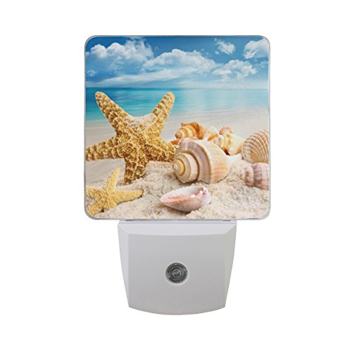 Naanle Set of 2 Starfish and Seashells On Beach with Bright Blue Sky and Ocean Summer Style Auto Sensor LED Dusk to Dawn Night Light Plug in Indoor for Adults