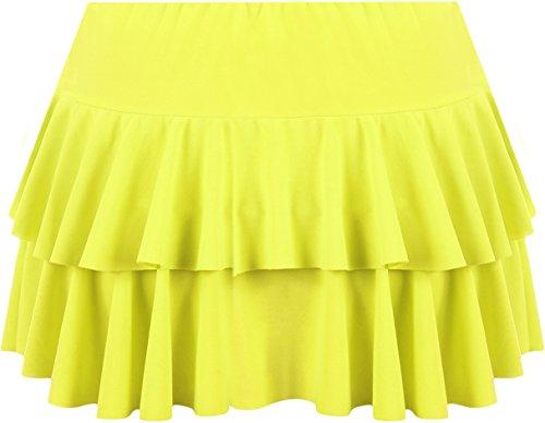 jupe Femmes Tailles Jaune Fluorescent Mini WearAll Jupes 36 42 ruche f4wfaHq5