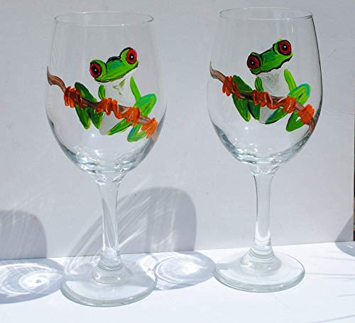 Green Tree Frog Hand Painted Stemmed Wine Glasses Set of 2