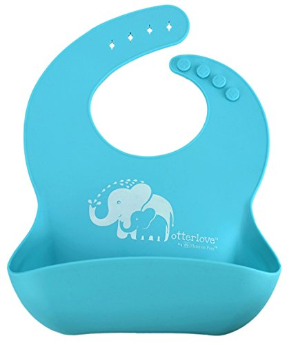 Otterlove Silicone Bib. 100% Pure Platinum LFGB Silicone Bibs. NO fillers. No BPAs, BPS, Phthalates – Set of Two Waterproof Bibs – Boys and Girls Bibs – (Blue Elephant & Lemon Lime Otters)