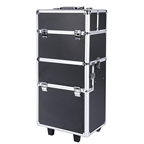 Songmics alu trolley Kosmetikkoffer größe schwarz mit trolley box case 2 in1 JHZ05B