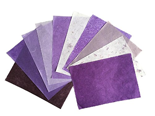 (10 Sheets 8.5 x 12 inches Purple Tone Thin Mulberry Paper Sheets Design Craft Hand Made Art Tissue Japan Origami Washi Wholesale Bulk Sale Unryu Suppliers Card Making Washi Paper Sheets (N001))