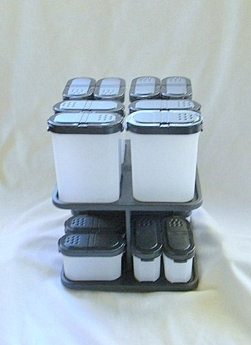 Tupperware Spice Shakers with Carousel Set Black 16 pcs by Tupperware
