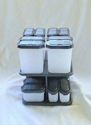 Tupperware 16 Spice Shakers + Rotating Carousel Set NEW Rare
