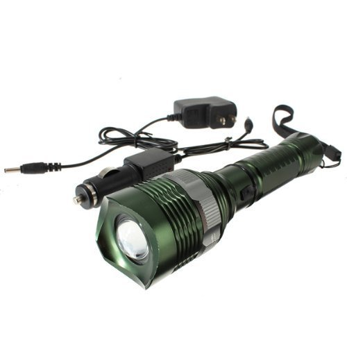 Super Bright 500 Lumens CREE XM-L Q5 LED Green Flashlight Torch Lamp Rechargeable Zoom IN/OUT Light & Car Charger & Straight Charger - Zoom Green Car