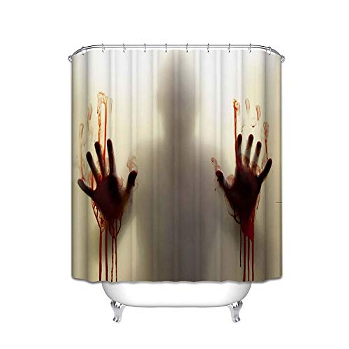 EVINIS Halloween Shower Curtain, Horror Bloody Hands Waterproof Bathroom Shower Curtains with Hooks for Halloween Decoration - 65x72 Inches (Horror Bloody Hands) ()
