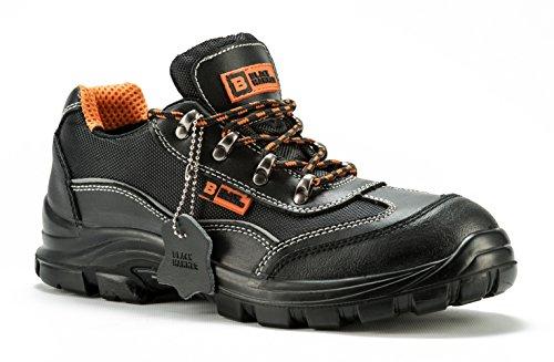 Bottes de sécurité Black Hammer randonnée pour hommes hauteur cheville avec chaussures embout de protection en acier et semelle de protection 8821 Unisexe