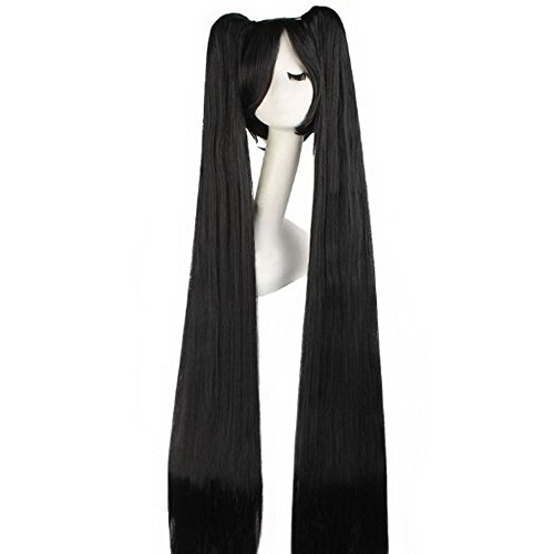 Black Miku Wig Long Bunches Straight Anime Cosplay Girls Vocaloid Hair Halloween Accessories Prop Womens 120cm