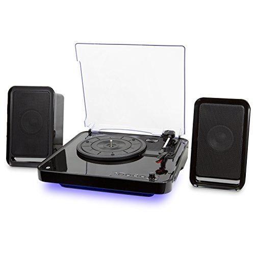 iLive Wireless Turntable with Speakers, LED Lighting, Black