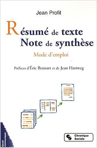 amazon fr résumé de texte note de synthèse mode d emploi