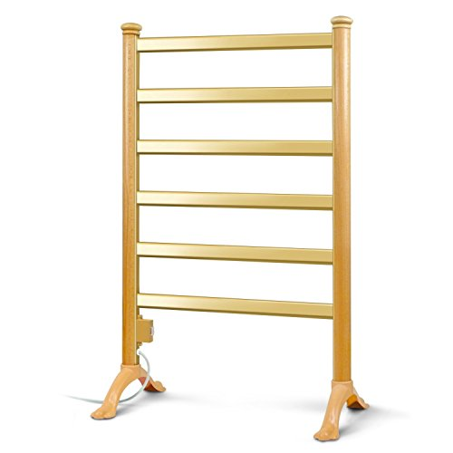 INNOKA Floor Standing Freestanding Electric Heated Towel Warmer & Drying Rack (UL Certified), 6 Bars & Elegant Wood Frame