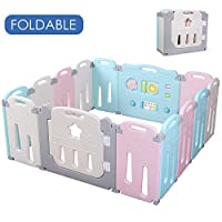 POTBY Foldable Baby Playpen Activity Center Safety Playard with Lock Door,Kid