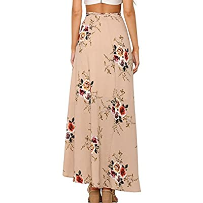 Yonala Womens Boho Floral Tie Up Waist Summer Beach Wrap Cover Up Maxi Skirt at Women's Clothing store