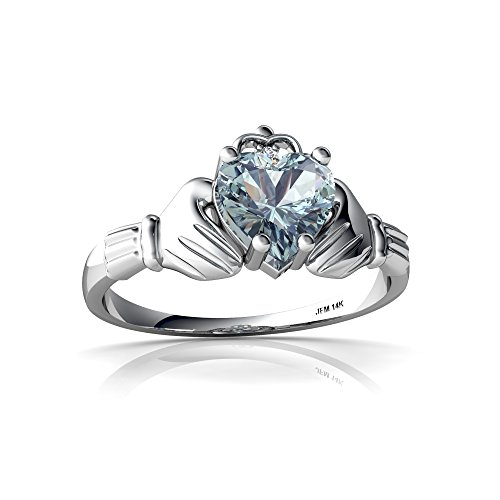 14kt White Gold Aquamarine and Diamond 6mm Heart Claddagh Ring - Size 7