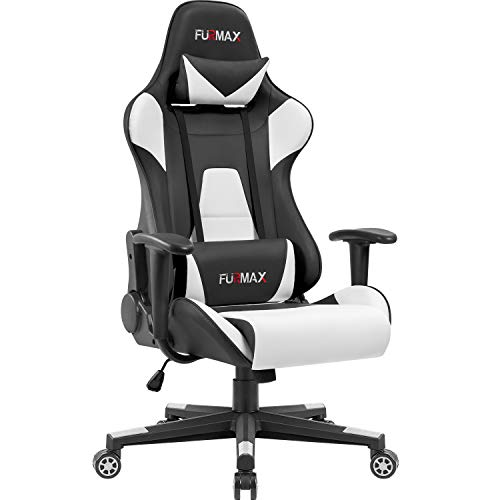 Furmax High-Back Gaming Office Chair Ergonomic Racing Style Adjustable Height Executive Computer Chair,PU Leather Swivel Desk Chair (Black/White) Furmax