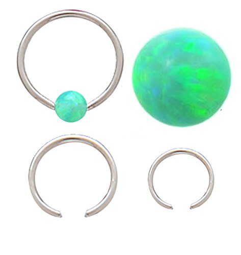 "Sparkling synthetic Green fire Opal Captive Septum Cartilage Tragus Earring Nose body Jewelry piercing ring rings 18g 1/4"" , 5/16"" & 3/8"""