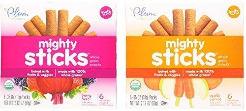 Plum Organics Tots Mighty Sticks Variety Bundle: (1) Apple Carrot Mighty Sticks 2.12oz and (1) Berry Beet Mighty Sticks 2.12oz