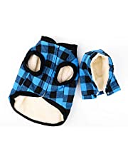 Rantow Windproof Pet Dog Jacket Winter Coat Detachable Hat Cold Weather Dog Vest Red Plaid/Blue Plaid Puppy Hoodie Sweater Clothing Outfits