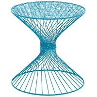 Benzara Attractive Styled Metal Accent Table, 19.2 by 19.2 by 19.2-Inch, Blue