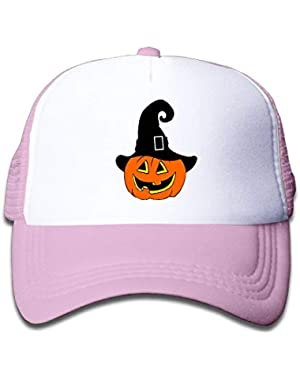 Pumpkin with Witch Hat On Boys and Girls Trucker Hat, Youth Toddler Mesh Hats Baseball Cap
