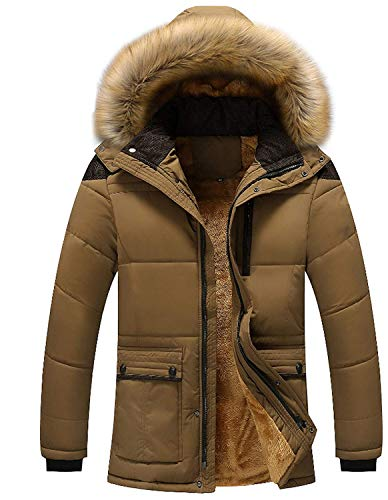 Screenes Men's Boys Jacket Winter Coat Men's Outerwear Quilted Quilted Jackets with Fur Hood Down Jacket Warm Men's Winter Jacket Dunkelkhaki
