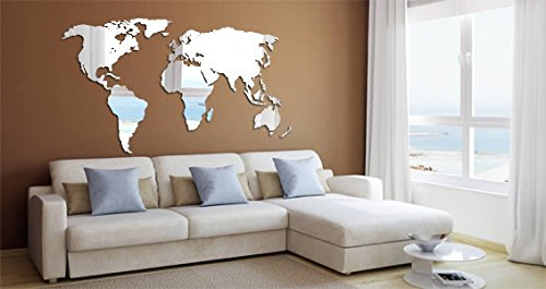 World Map Acrylic Wall Mirror (47x23) by Dezign with a Z