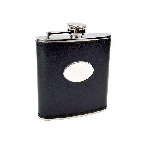 (6oz Black Engravable Flask, Free Personalization)