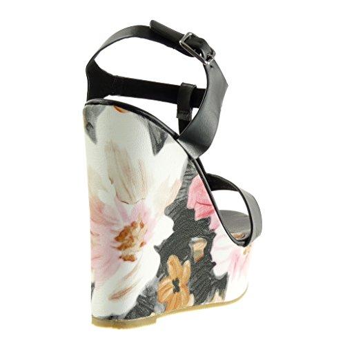 Angkorly - Scarpe da Moda sandali Mules cinturino zeppe donna fiori Tacco zeppa piattaforma 13.5 CM - Nero