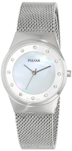 Pulsar Women's PH8053 Silver-Tone Stainless Steel Watch with Swarovski Crystal Markers (Pulsar Mesh Watch)