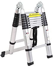 SogesGame 16.5 FT Aluminum Telescoping Extension Ladders Extendable Telescoping Ladder with Spring Loaded Locking Mechanism Non-Slip Ribbing 330 Pound Capacity EN 131 Standard KS-MS-UP500D-S8-CA
