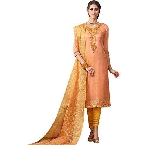 Ladyline Readymade Salwar Kameez Rich Blend Silk Embroidered With Bararasi Silk Weaving Dupatta Indian Wedding Dress