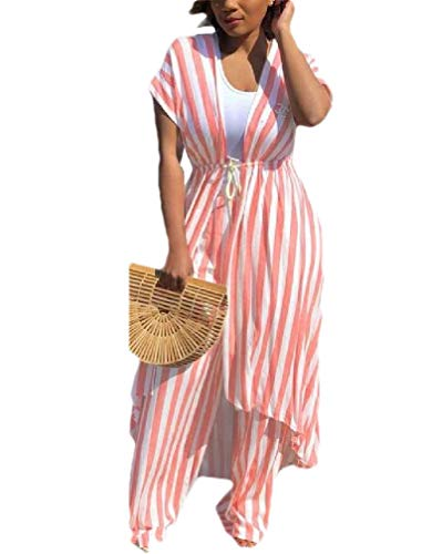 Andopa Women's Striped Weekend Open Lace Up Club Crop Top and Wide Leg Pants Pink XS