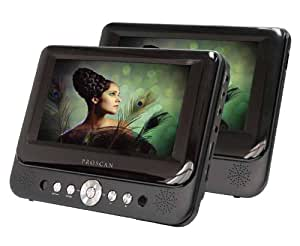 Proscan 7-Inch Dual Screen Portable DVD Player with USB/SD Card Reader, Car Mounting Kit