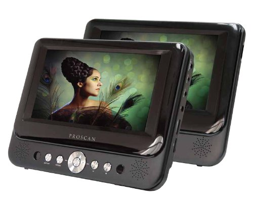 Proscan 7-Inch Dual Screen Portable DVD Player with USB/SD Card Reader, Car Mounting Kit by PROSCAN