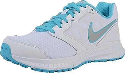 Nike Womens Downshifter 6 White/Metallic Silver/Gmm Blue Running Shoe 6 Women US