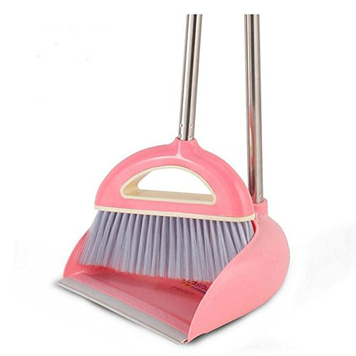 2 PCS/Set Dustpan And Brush, Non-Slip Handle Clean Sweep The Floor Broom, Plastic Dustpan Soft Bristle Broom Thicken Household, Suit Stainless Steel Fiber Superfine Broom Set Home Cleaning Tool,Size:93*28*73cm (Pink) Hoyoo