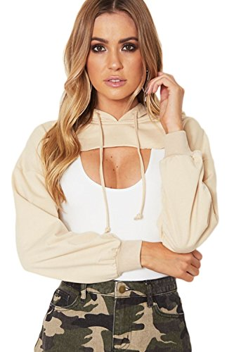 Women Long Sleeve Cut Off Hoodie Patchwork T Shirt Blouses Tops Sweatshirts at Amazon Womens Clothing store:
