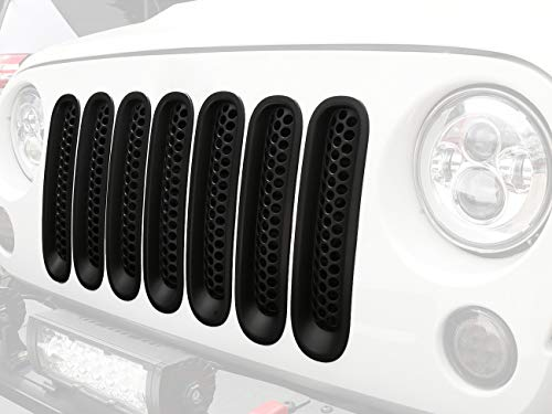 Hooke Road Front Grill Inserts Matte Black Mesh Grille, Clip-in Deflector Guard for 2007-2015 Jeep Wrangler JK & Unlimited (Pack of 7)