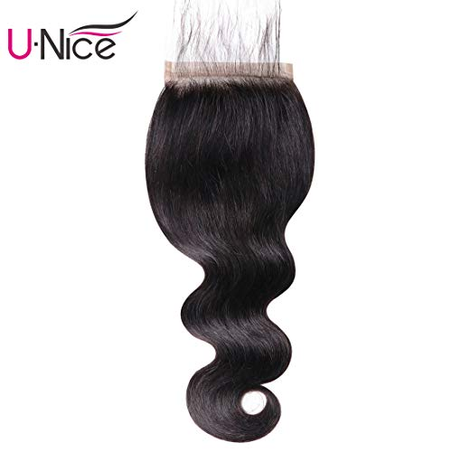 UNice Hair Brazilian Body Wave 5x5 Lace Closure Free Part with Baby Hair, 100% Unprocessed Human Virgin Hair Natural Color (14'' Closure)