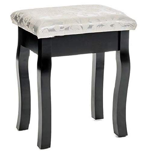 Mecor Vanity Stool Makeup Dressing Bench Backless Padded Cushioned Seat Wood Legs (Black)