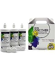 EYE DISCOVER onderhoudsmiddel voor zachte contactlenzen, Vorratspackung 3 x 360 ml + 2 Contactlenzenhouder