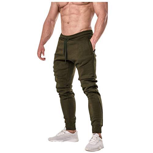 (Men Long Sweatpants Casual Comfort Elastic Waist Drawstring Pockets Pants Fashion Stretch Running Training Trousers Slacks (L, Green))