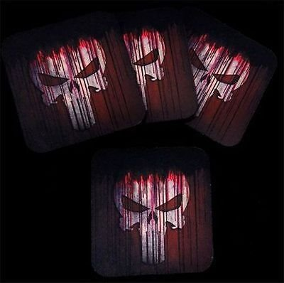 Punisher Skull Bloody Red Bar 4 Coaster Wedding Favor Set Gift Biker COA-0089