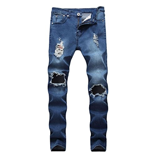- iZHH Mens Ripped Slim Fit Motorcycle Holes Denim Jeans Zipper Streetwear Pants