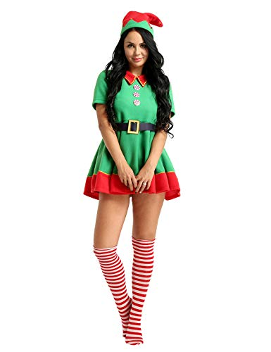 YiZYiF Adult Christmas Helper Costumes Xmas 4 Pieces Outfits Set for Womens Mens Mrs Santa Dress Medium ()