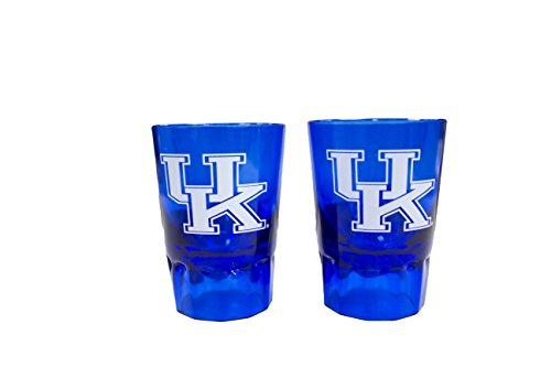 NCAA Kentucky Wildcats 2oz Colored Plastic Collectible Shot Glass 2pk (Glass Wildcats)