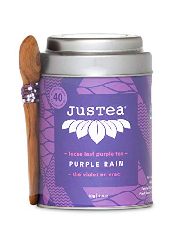 - JusTea Purple Rain | Loose Leaf Purple Tea with Hand Carved Tea Spoon | Over 40 cups 2.8 Ounce Tin | Low Caffeine | Award-Winning | Organic | Fair Trade | Non-GMO