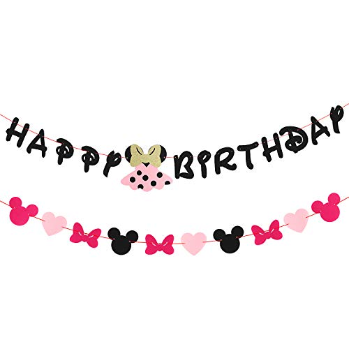 BeYumi Minnie Mouse Happy Birthday Banner and Garland, Pink Party Ideas for Girls and Kids Birthday Decorations for $<!--$7.99-->