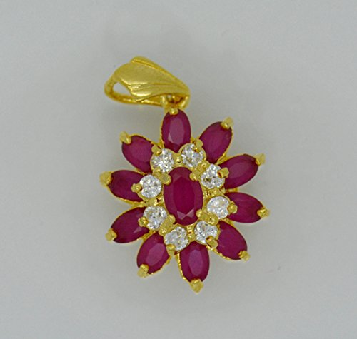 Gorgeous 22k Yellow Gold Plated Gp Women Gorgeous Pendant Cz AAA Syn Siamese Ruby Flower