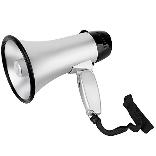 (MyMealivos Portable Megaphone Speaker Siren Record Bullhorn - Compact and Battery Operated with 20 Watt Power, Microphone, 3 Modes, PA Sound and Foldable Handle (Silver))